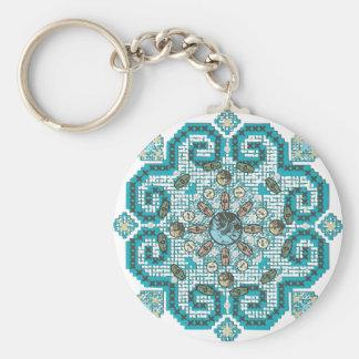 cross stitch basic round button key ring