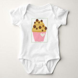 Cross stitch chocolate chip muffin baby bodysuit
