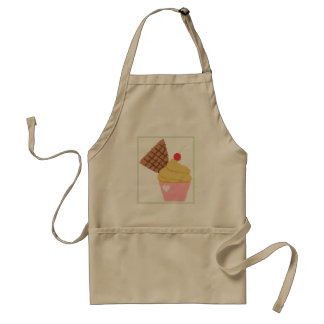 cross stitch cupcake with cherry on the top. standard apron