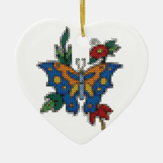 cross stitch embroidery butterfly ceramic heart decoration