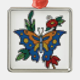 cross stitch embroidery butterfly Silver-Colored square decoration