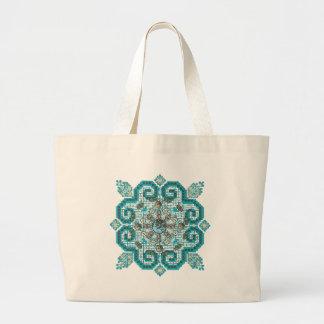 cross stitch large tote bag