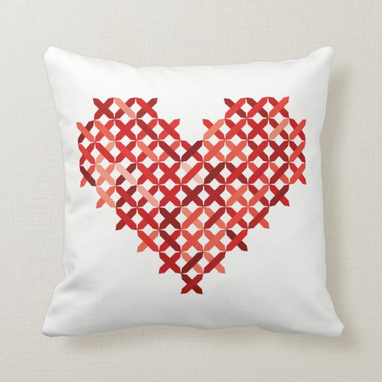 Cross Stitch Love Heart Cushion