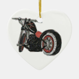 cross stitch motorcycle embroidery ceramic heart decoration