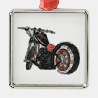 cross stitch motorcycle embroidery Silver-Colored square decoration