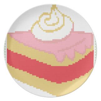 Cross stitch piece of cake plates