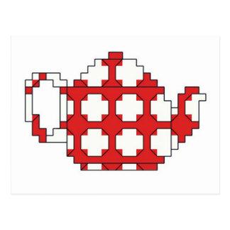 Cross stitch spotty teapot postcard