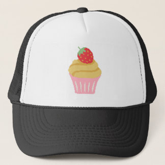 Cross stitch strawberry cupcake trucker hat