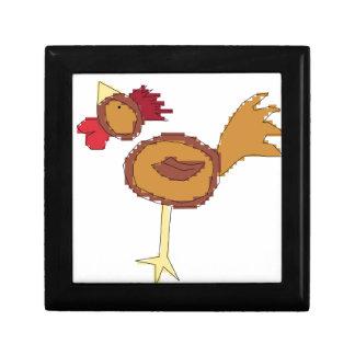 cross stitch style chicken small square gift box