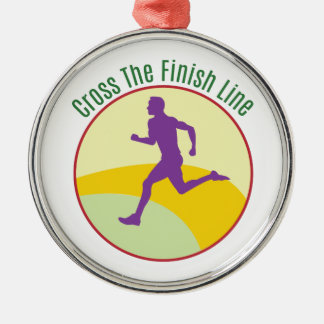 Cross The Finish Line Silver-Colored Round Decoration