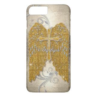 Cross w Glitter Diamond Jewel Look Angel Wings iPhone 8 Plus/7 Plus Case