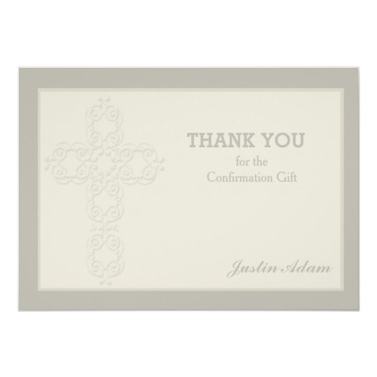 Cross Watermark Religious Thank You Notecard