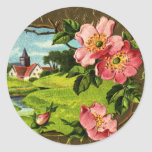 Cross, Wild Roses and Church Vintage Easter Round Sticker