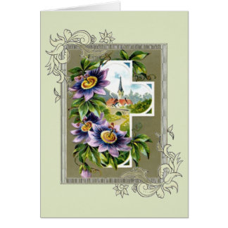 Cross With Church And Flowers Card