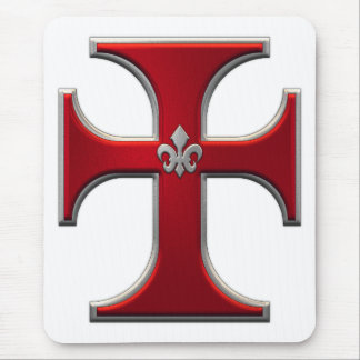 Cross with fleur-de-lis – Red Mouse Mat
