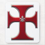 Cross with fleur-de-lis – Red Mousepad