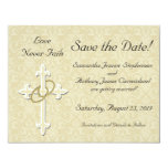 Cross with Golden Rings Save the Date Cards 11 Cm X 14 Cm Invitation Card