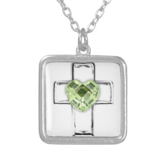 cross with heart shaped August birthstone Silver Plated Necklace