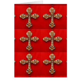 Cross with Jewels : Pattern on Red Base Greeting Cards