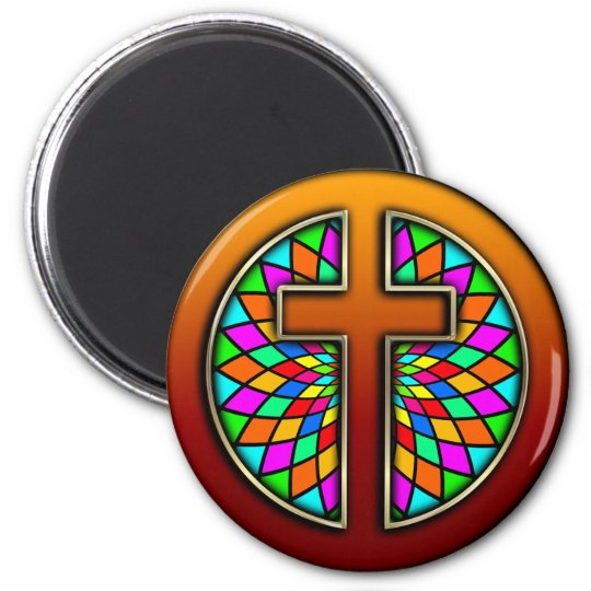 CROSS WITH STAINED GLASS 6 CM ROUND MAGNET