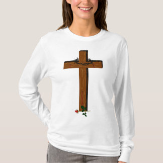 Cross With Thorn  Wreath  And A Red Rose T-Shirt