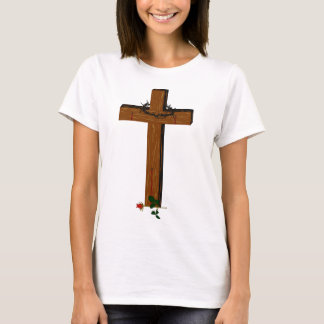 Cross With Thorn Wreath And A Rose Shirt