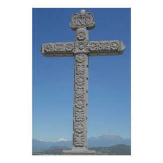 Cross with Volcano in Background Poster/ Print