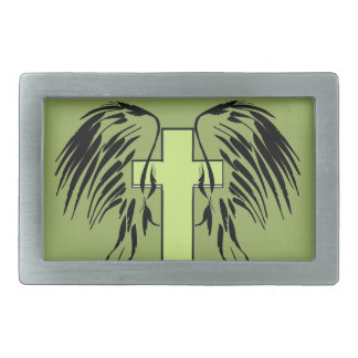 cross with wings belt buckle green
