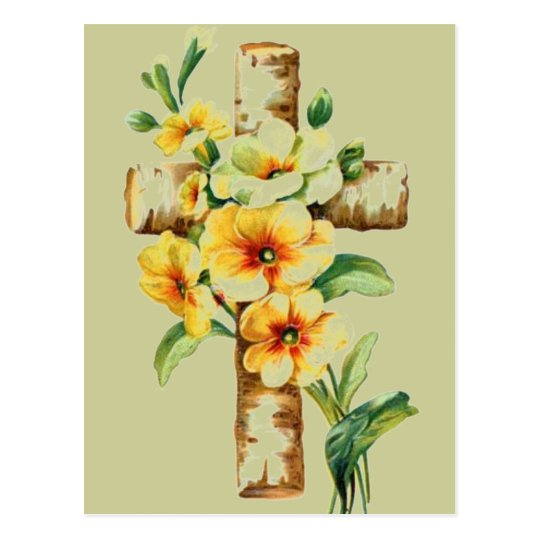 Cross With Yellow Flowers Postcard