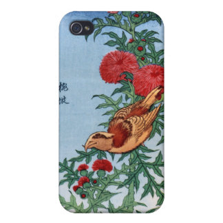 Crossbill on a Thistle, Hokusai Covers For iPhone 4