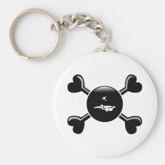 Crossbones Skydiving Basic Round Button Key Ring