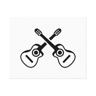 Crossed acoustic guitars stretched canvas prints