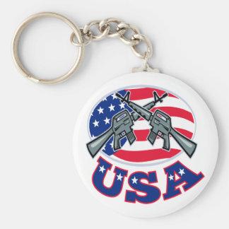 Crossed Ar-15's American Flag USA Keychain