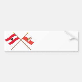 Crossed Austria and Oberösterreich flags Bumper Sticker