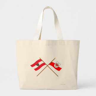 Crossed Austria and Tirol flags Large Tote Bag