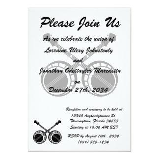 crossed banjos black 13 cm x 18 cm invitation card