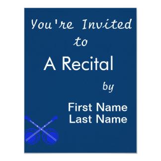 crossed banjos blue 11 cm x 14 cm invitation card