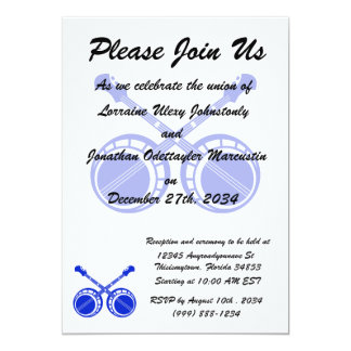 crossed banjos blue 13 cm x 18 cm invitation card