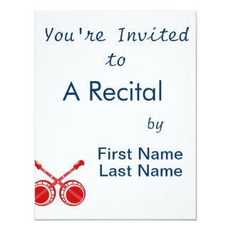 crossed banjos red 11 cm x 14 cm invitation card