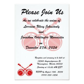 crossed banjos red 13 cm x 18 cm invitation card
