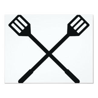 crossed barbecue cutlery icon 11 cm x 14 cm invitation card