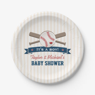 Crossed Bats Baseball Baby Shower 7 Inch Paper Plate
