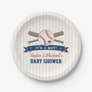 Crossed Bats Baseball Baby Shower Paper Plate