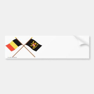 Crossed Belgium and Flemish Brabant Flags Bumper Sticker