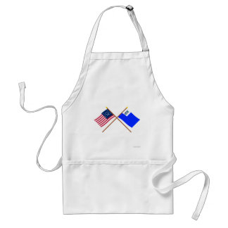 Crossed Bennington and Connecticut Privateer Flags Aprons