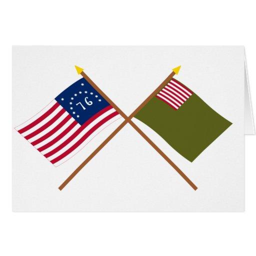 Crossed Bennington and Delaware Militia Flags Cards