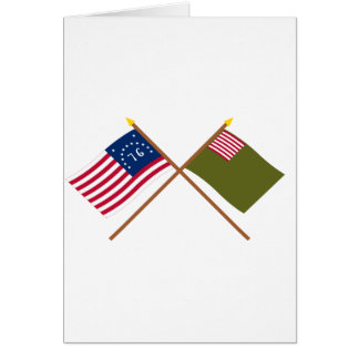 Crossed Bennington and Delaware Militia Flags Greeting Card