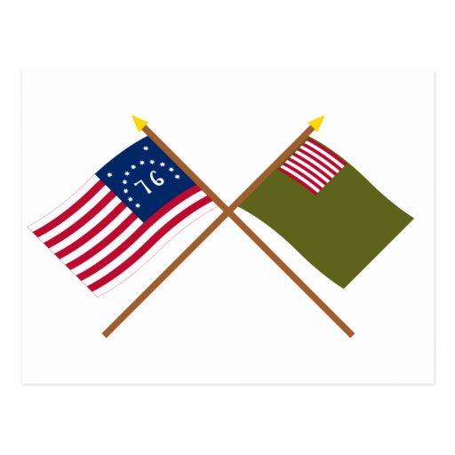 Crossed Bennington and Delaware Militia Flags Post Cards
