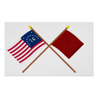 Crossed Bennington and Eutaw Flags Poster