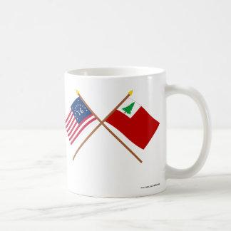 Crossed Bennington and New England Flags Basic White Mug